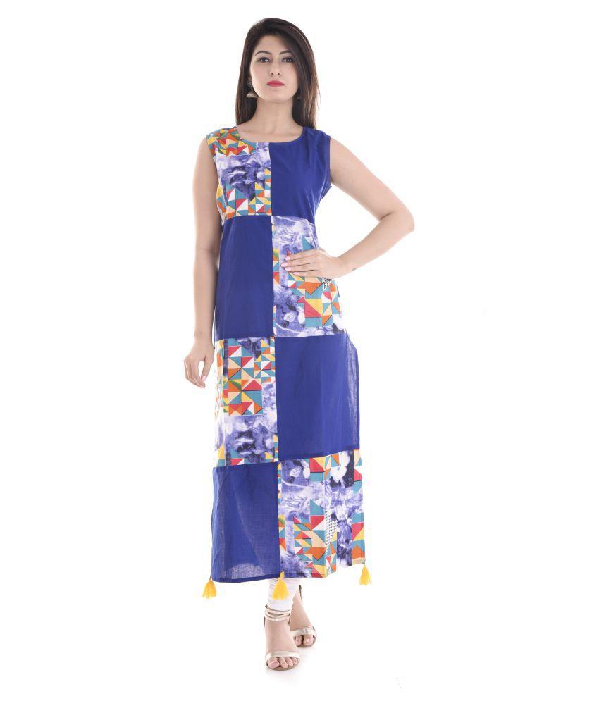 Vedika Overseas Multicoloured Rayon Straight Kurti
