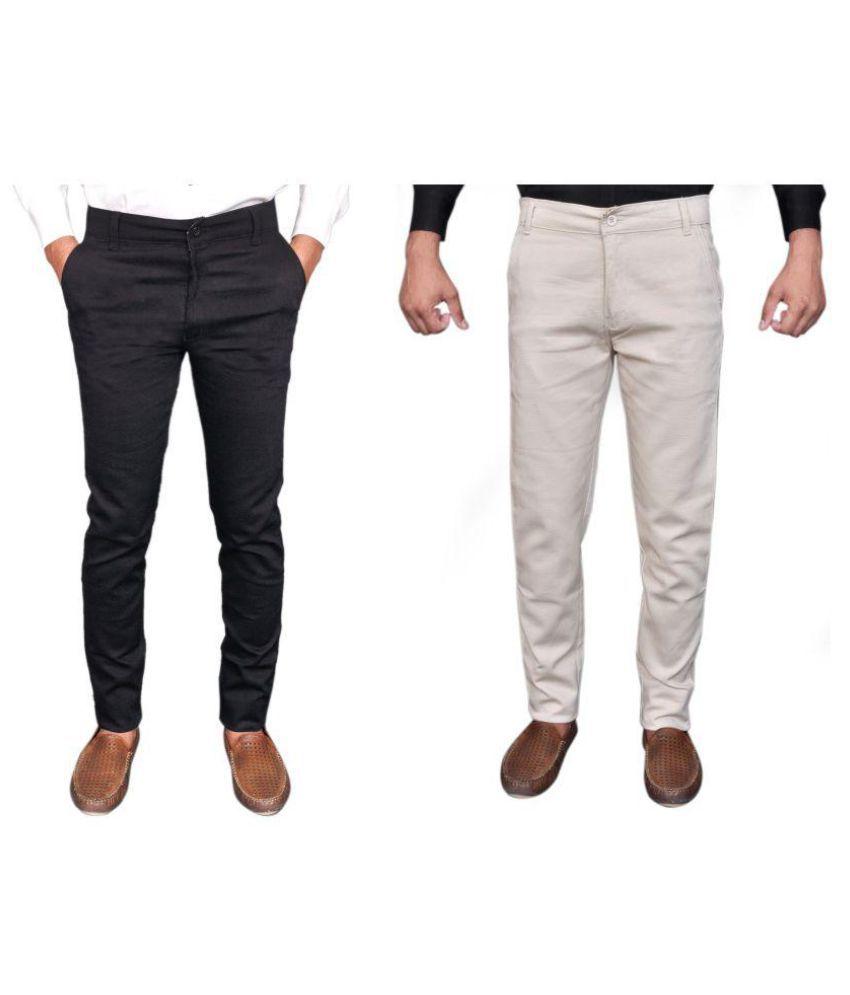 MR.UNIQUE Multicolored Regular -Fit Flat Trousers