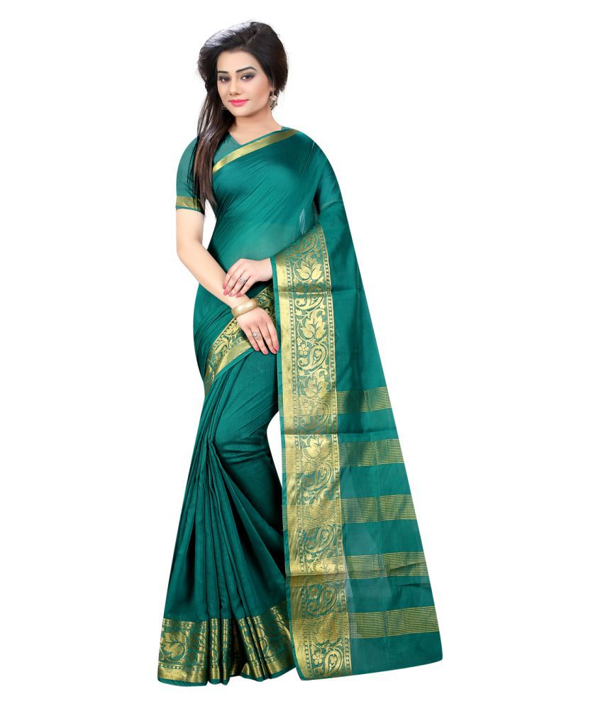 VastraParidhan Green Cotton Saree