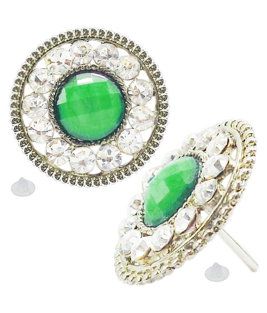 Slks India Craft-New Bollywood Designer and Anniversary or Partywear Green Round Earrings