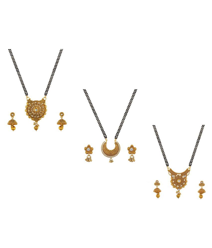 Aabhu Classic Combo of 3 Mangalsutra, Chain with Earrings Jewellery Set for Women