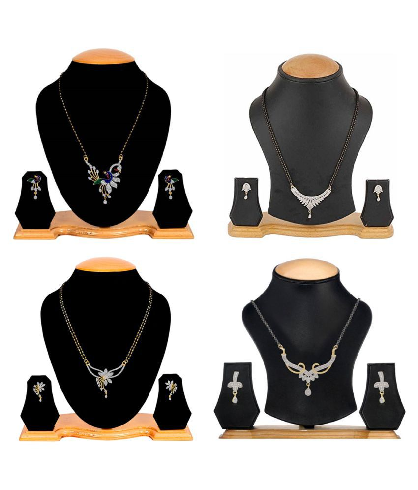 Aabhu Classic Combo of 4 Mangalsutra, Chain with Earrings Jewellery Set for Women