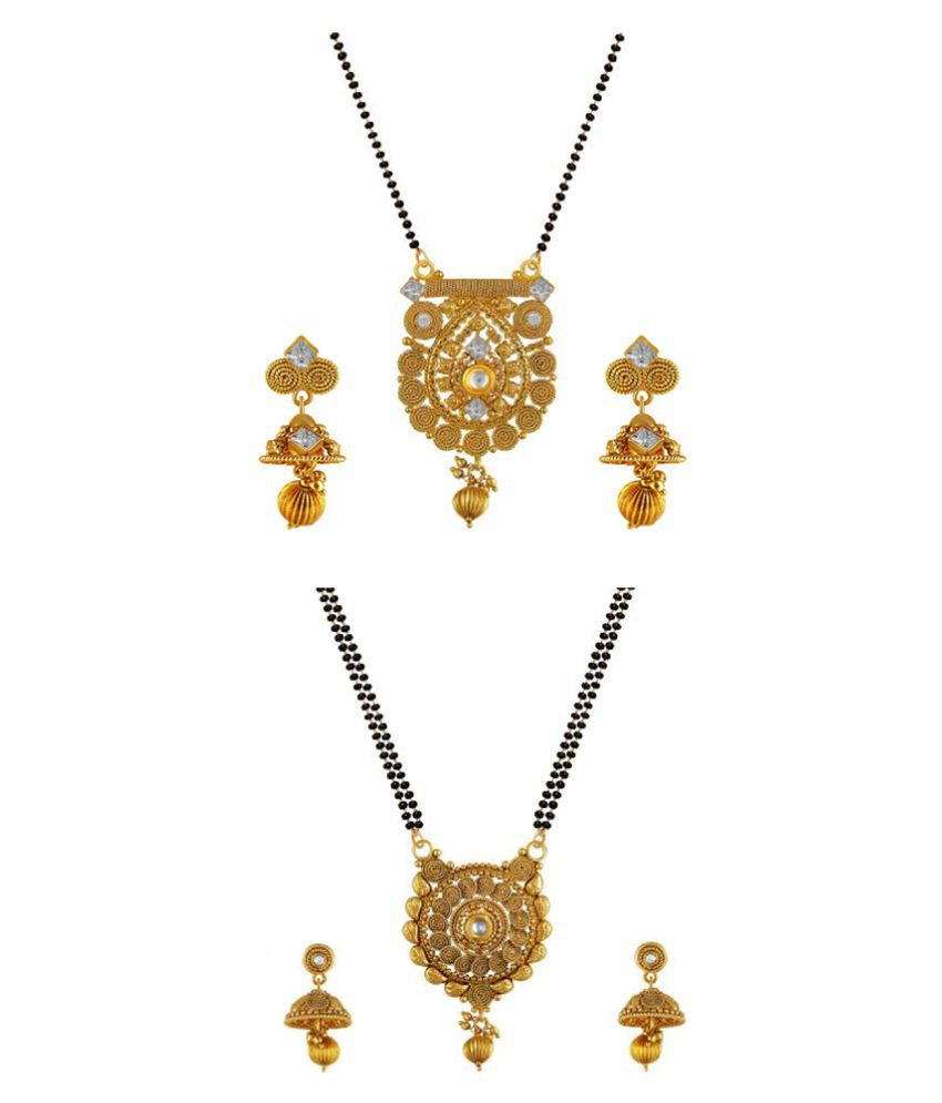Aabhu Fashionable Combo of 2 Mangalsutra with Earrings Pair Jewellery Set for Women