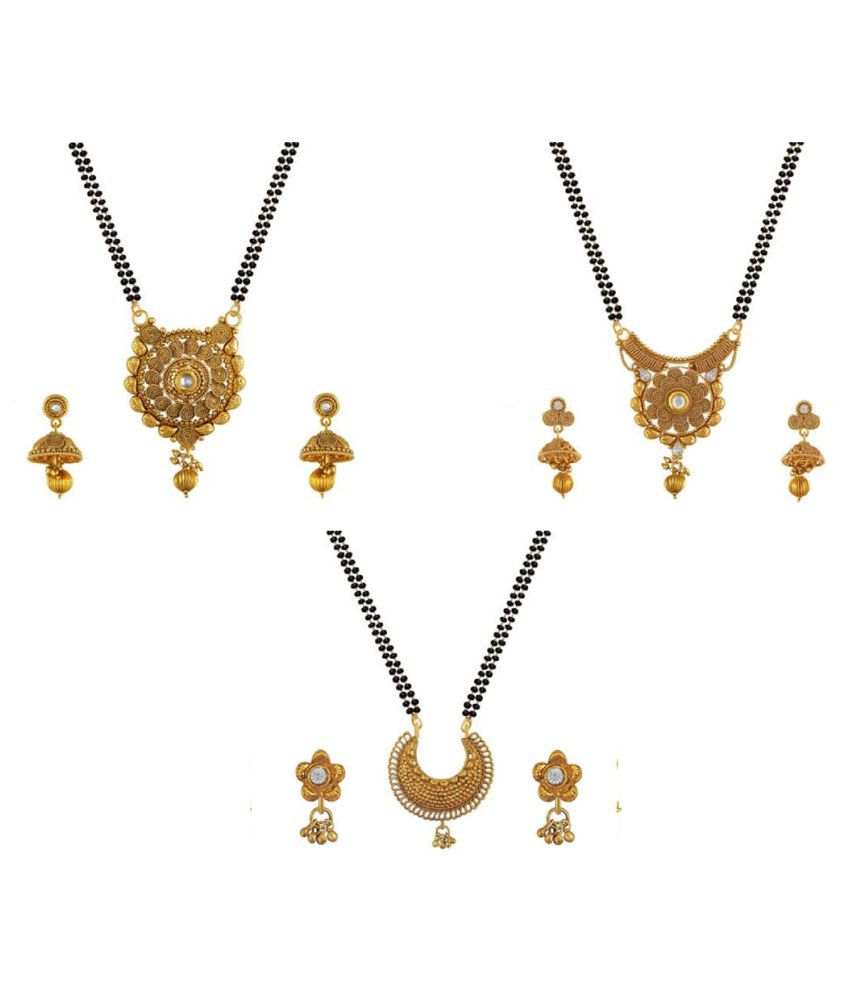 Aabhu Stylish Combo of 3 Mangalsutra with Chain and Earrings Jewellery Set for Women