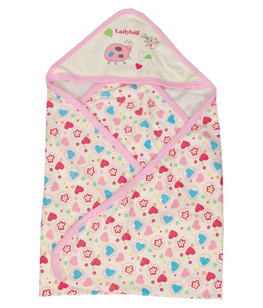 GURU KRIPA BABY PRODUCTS Pink Cotton Baby Wrap cum blanket ( 80 cm × 80 cm - 1 pcs)