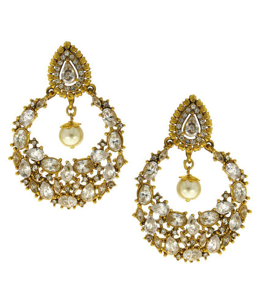 Anuradha Art Golden Colour Very Classy Trendy Chandbali Style Designer Traditional Earrings For Women/Girls