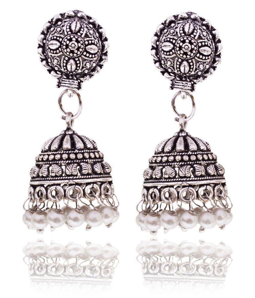 Sinjara Oxidized Silver Jhumki Earrings For Women (E-49)
