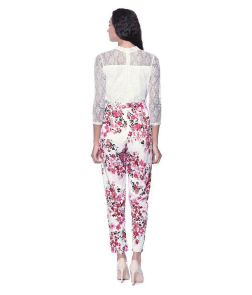 Urbane Woman Crepe White Jumpsuits