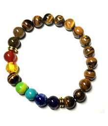 Maryam Jewels 8MM Brown Tiger Eye Stone Bracelet Semi-precious Stones 7 Charkra Bracelet for Women|Girls And Boys|mens