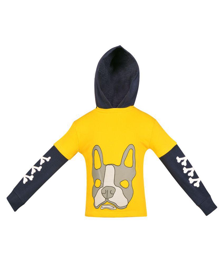 Gkidz Infants Yellow Full Sleeve Hooded Sweatshirt