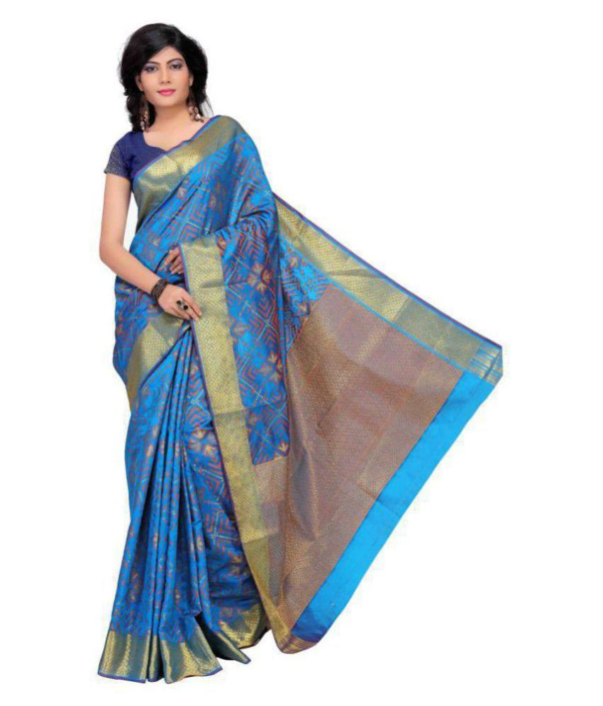 Just Fashion Blue and Grey Jacquard Saree