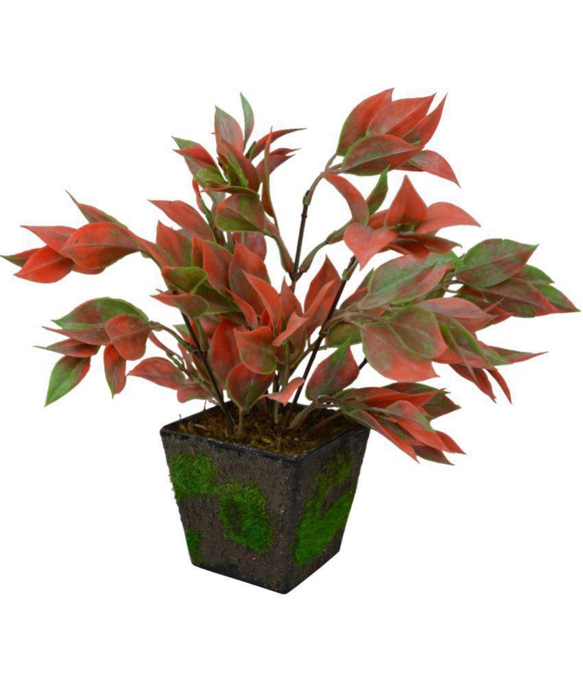 The Fancy Mart Leaves Bush in Black Velvet Square pot Multicolour Artificial Plants Bunch Fabric - Pack of 1