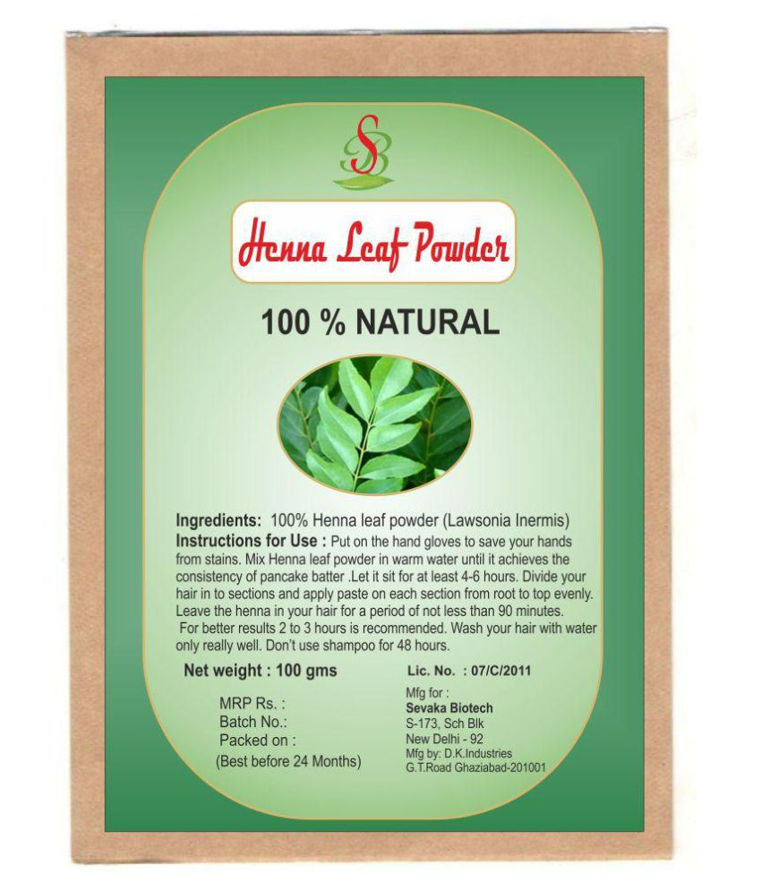 Sevaka Biotech Henna Leaf Powder 100 gm Neem Powder Semi Permanent Hair Color Black Black 100 gm