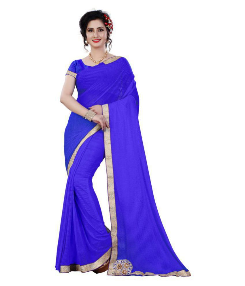 IndoPrimo Blue Lycra Saree