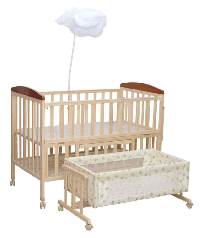 Mee Mee Baby Wooden Cot With Swing & Mosquito Net