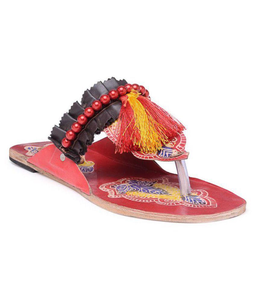 N-Gal Red Ethnic Footwear