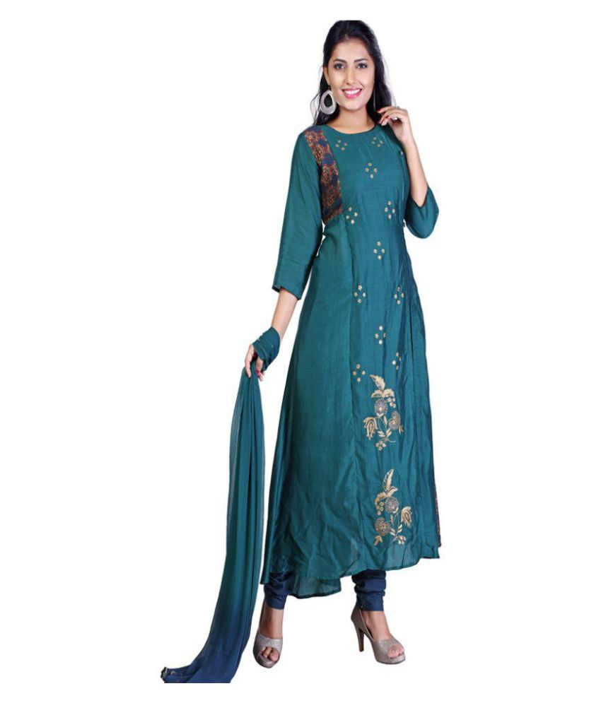 PAYAL Green Silk A-line Stitched Suit