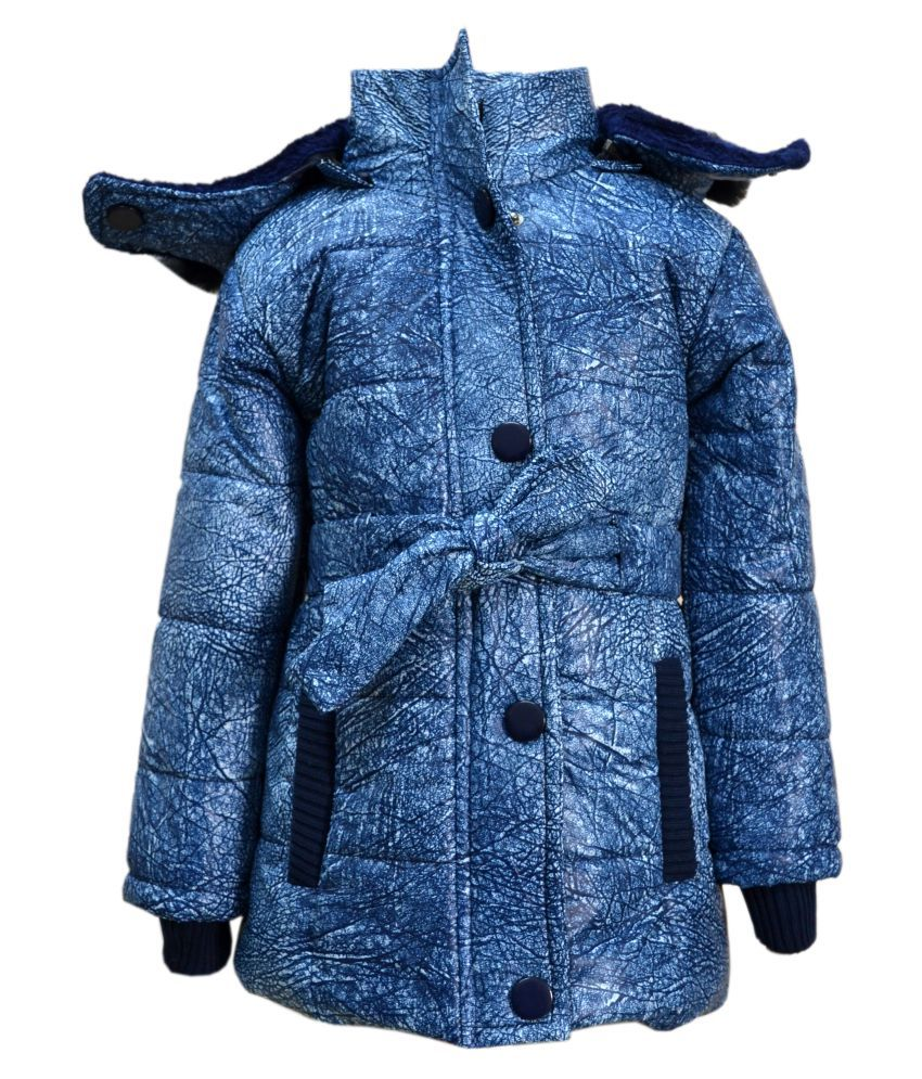 Come In Kids Girls Full Sleeve Winterwear Hooded Full Zipper and Button Closure Printed Quilted Jacket