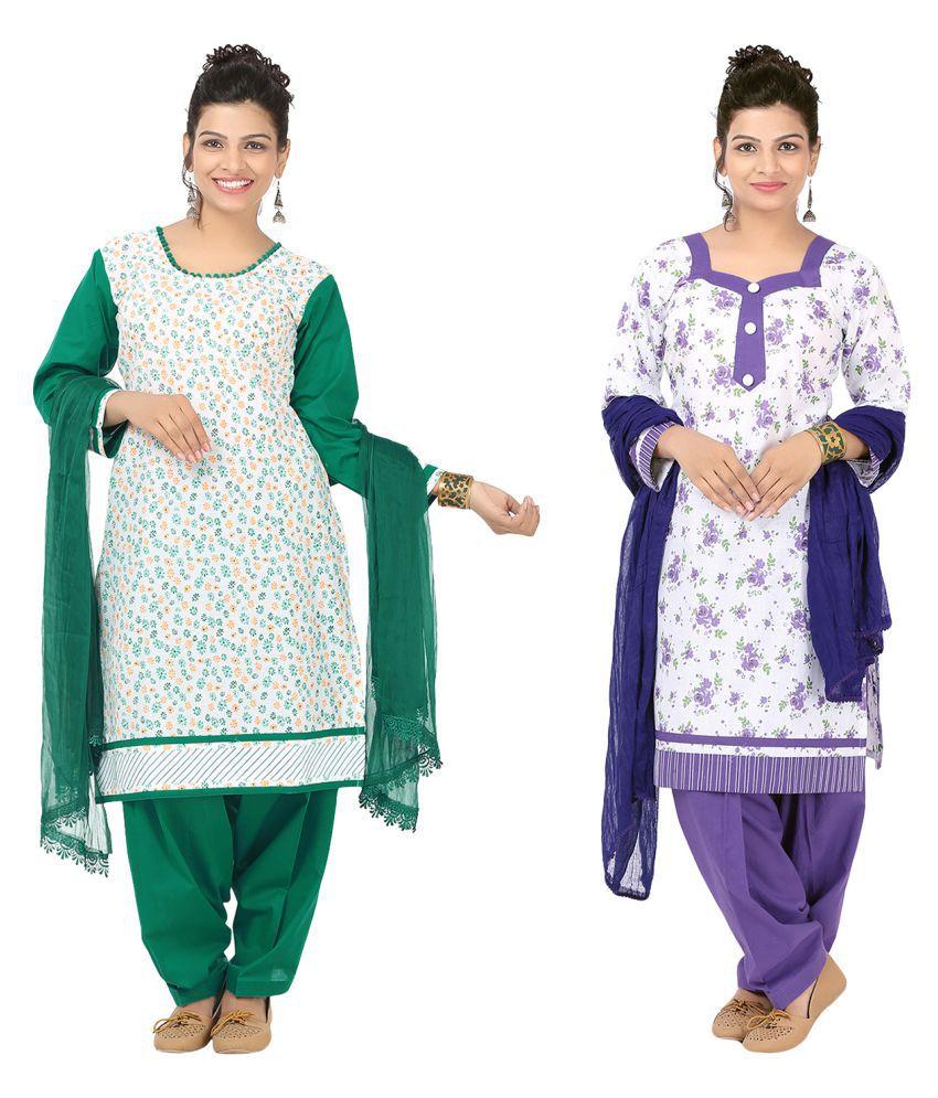 Indian Fair Lady Multicoloured Cotton A-line Stitched Suit