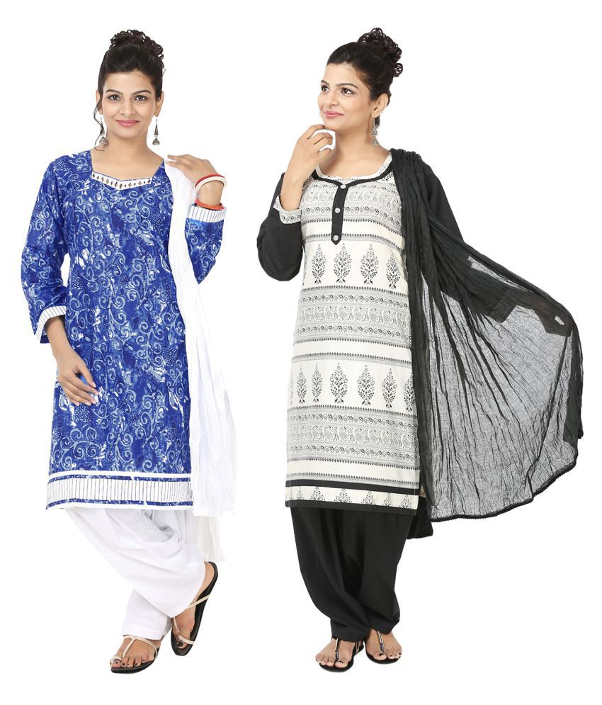 Indian Fair Lady White Cotton A-line Stitched Suit