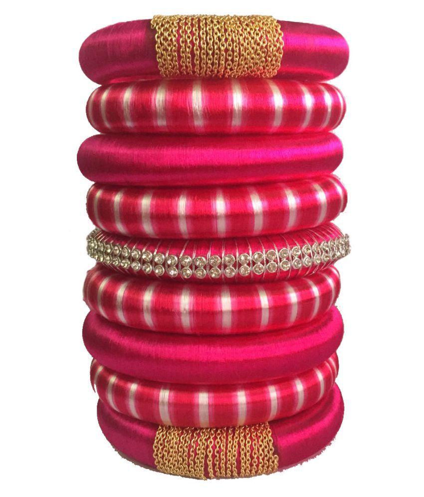Handmade Silk Dori Plastic Bangle Set