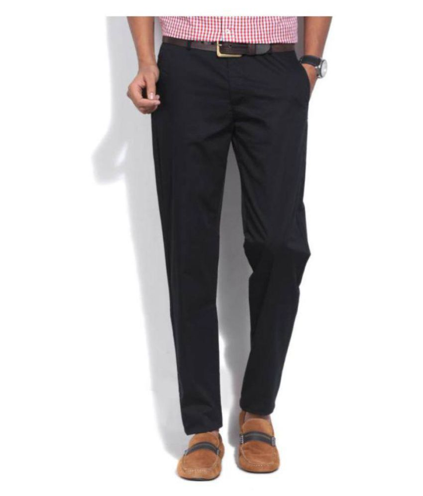 United Colors of Benetton Black Slim -Fit Flat Trousers