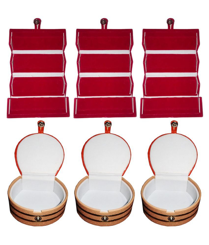 Afrose Combo 3 pc red ear ring folder and 3 pc bangle box