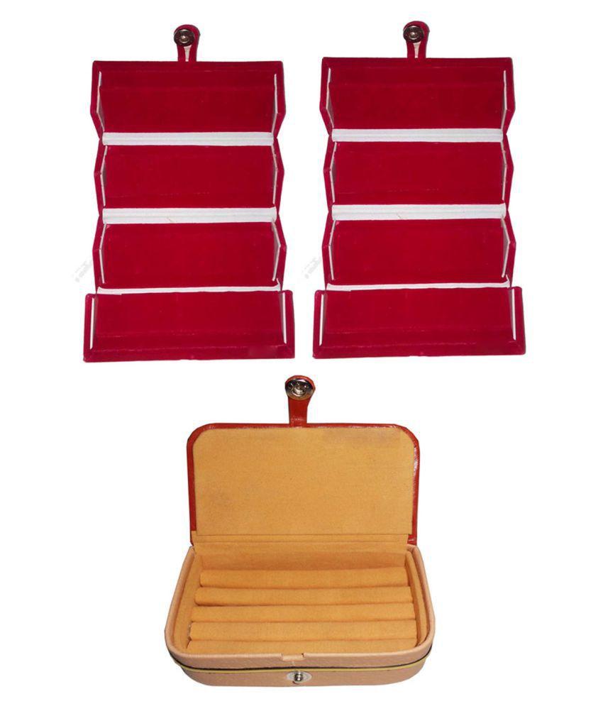 Sabita Combo 2 pc red earring folder and 1 pc ear ring box jewelry vanity box