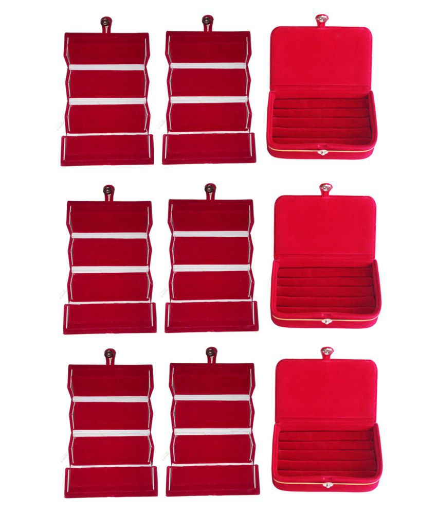 Sabita Combo 6 pc red earring folder and 3 red ear ring box jewelry vanity box
