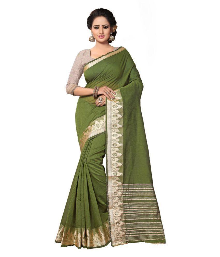 Amyra by ODHNI Green Cotton Silk Saree