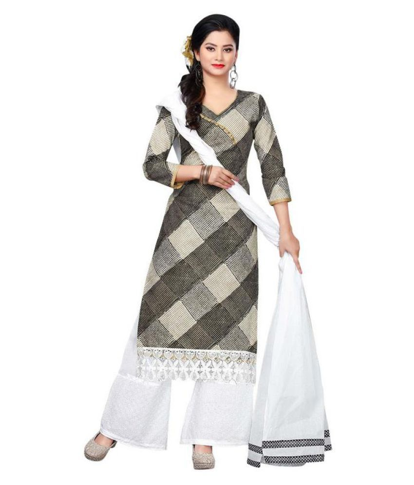 SHAURYA INNOVATION White and Grey Bengal cotton Dress Material