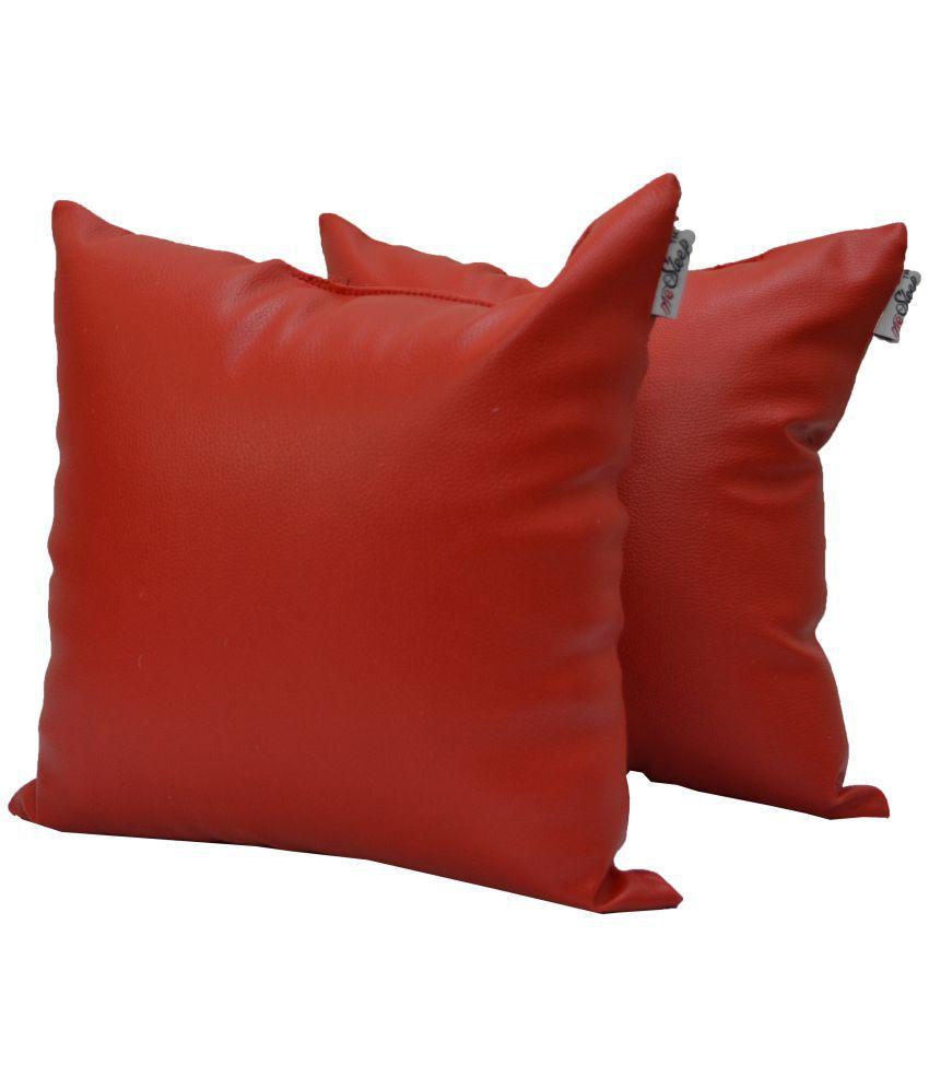 meSleep Set of 2 Leather Cushion Covers 40X40 cm (16X16)