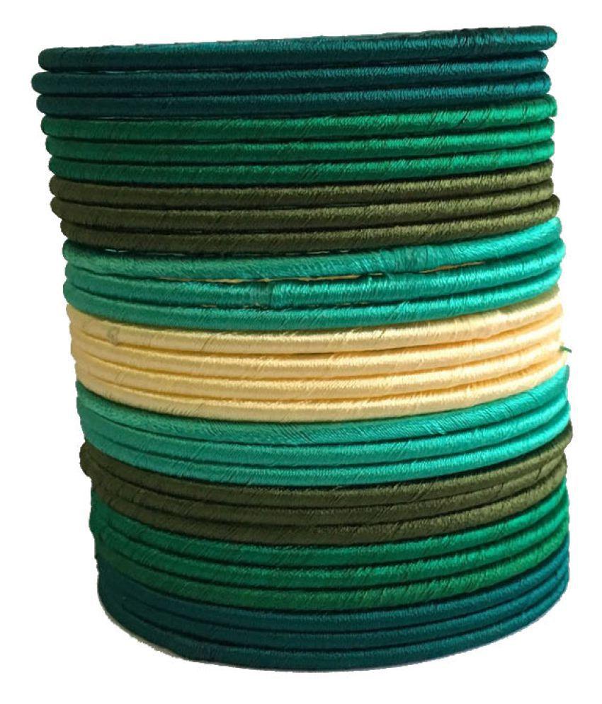 Nikush Handmade Beautiful Silk Dori Plastic Bangle Set