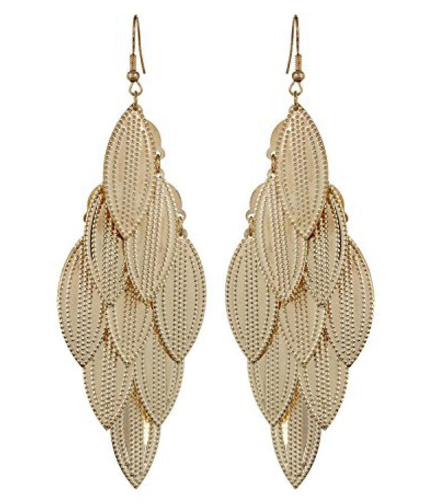 Fayon Chic Stylish Golden Leaves Dangler Earrings