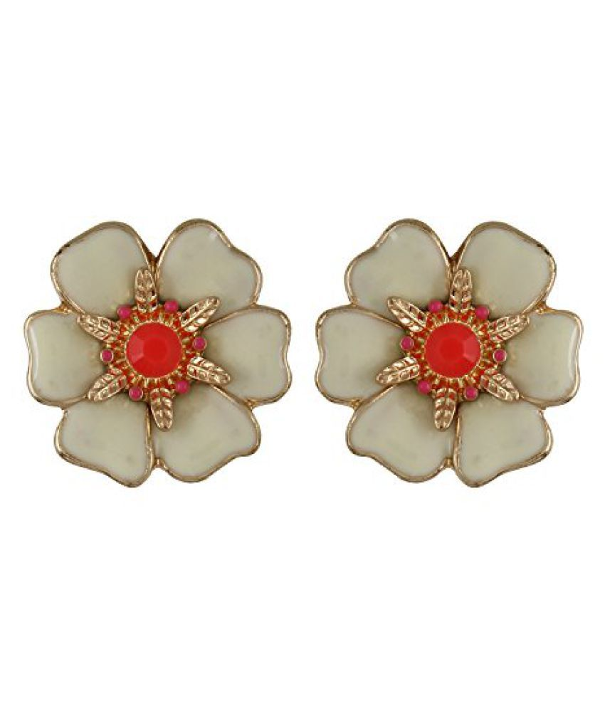 Fayon Daily Casual Work Cream Spring Flower Stud Earrings