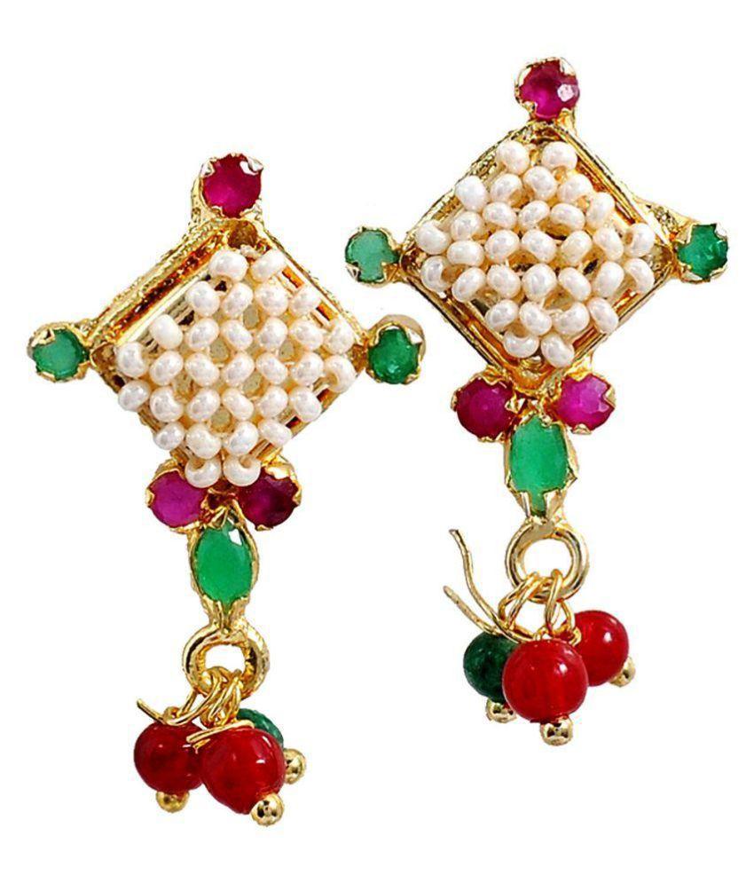 Maayra Women Earrings Wedding Brass Dangler Drop Green Pink White Victorian Jewellery