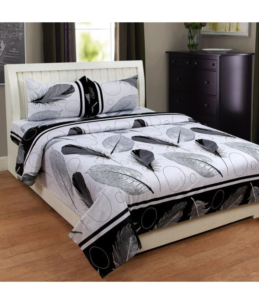 Homesense Cotton Double Bedsheet with 2 Pillow Covers ...
