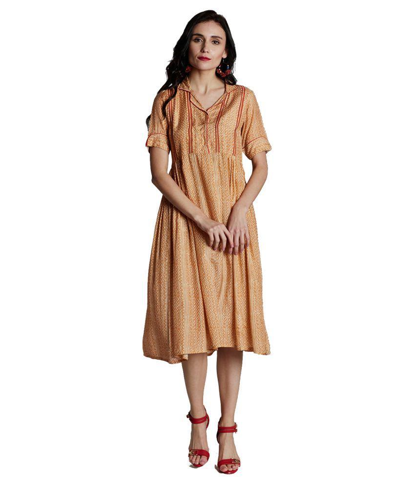 Jaipur Kurti Rayon Orange Dresses