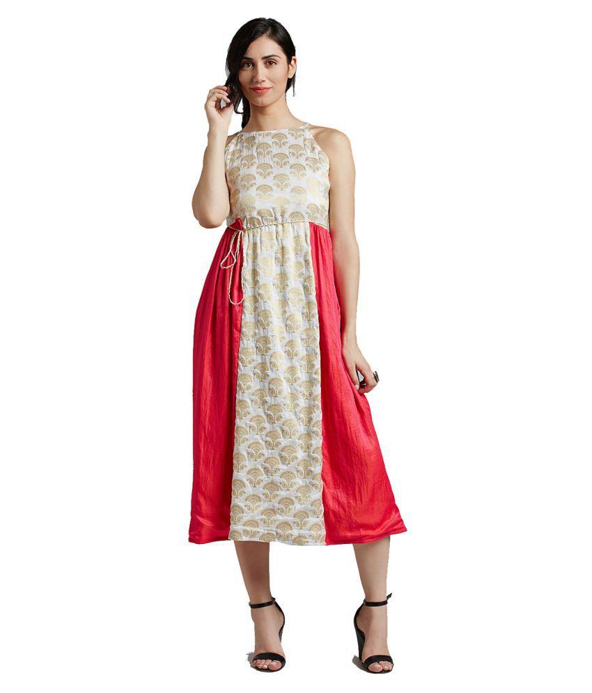Jaipur Kurti Silk White Dresses