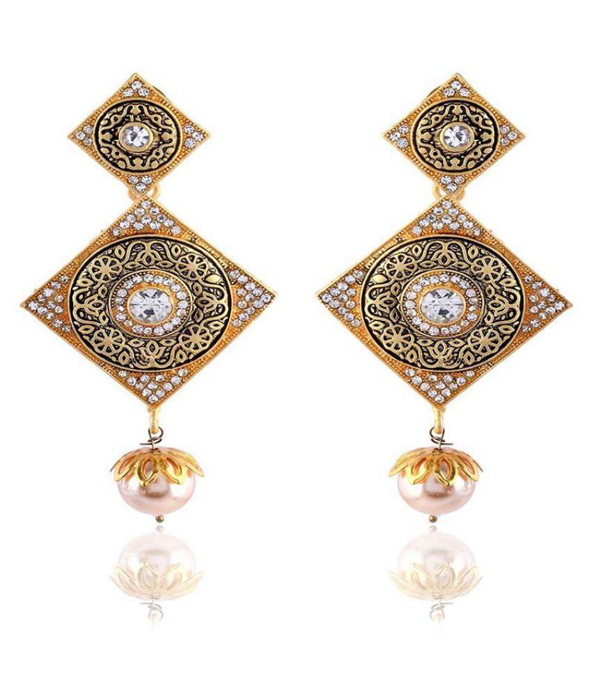 Sinjara Gold Brass Dangle & Drop Earrings For Women (E-2)