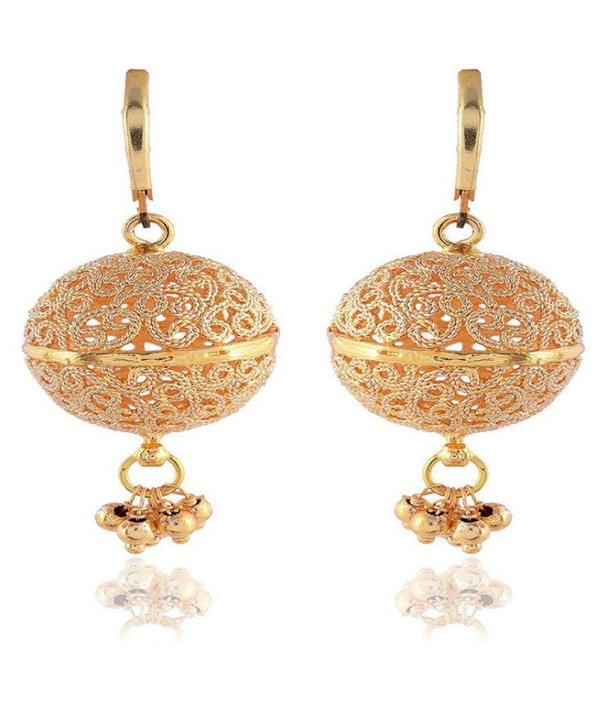 Sinjara Gold Brass Dangle & Drop Earrings For Women / Girls (E-16)