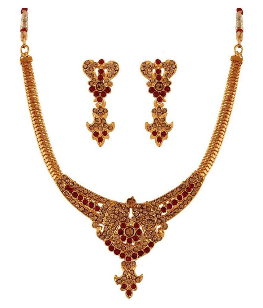 Variation Alloy Gold Plating Stones Studded Gold Coloured Necklaces Set