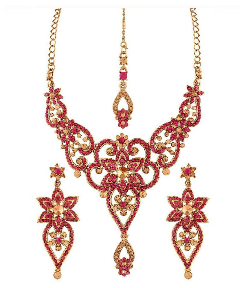 Variation Alloy Gold Plating Stones Studded Pink Coloured Necklaces Set