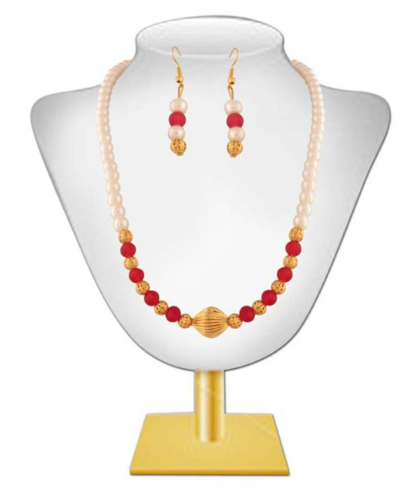 Variation Elegant Red Adorned Crystal Moti Mala