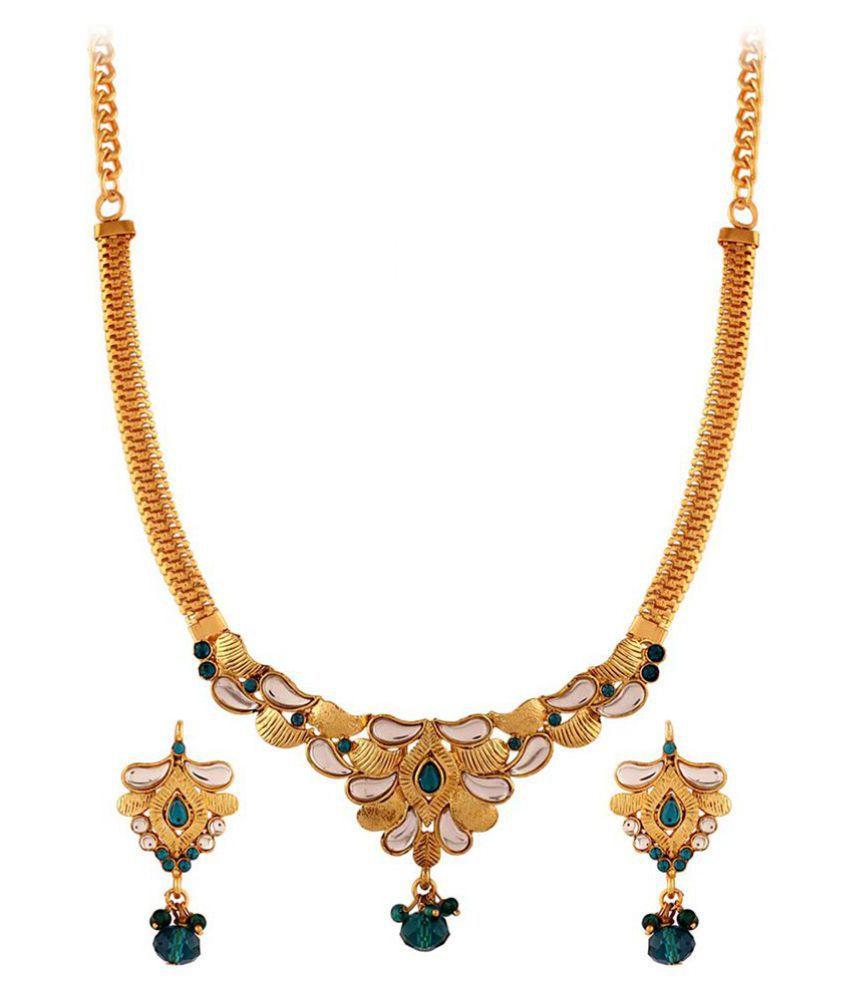 Variation Kundan Gold Plating kundan/Meenakari Studded Gold Coloured Necklaces Set