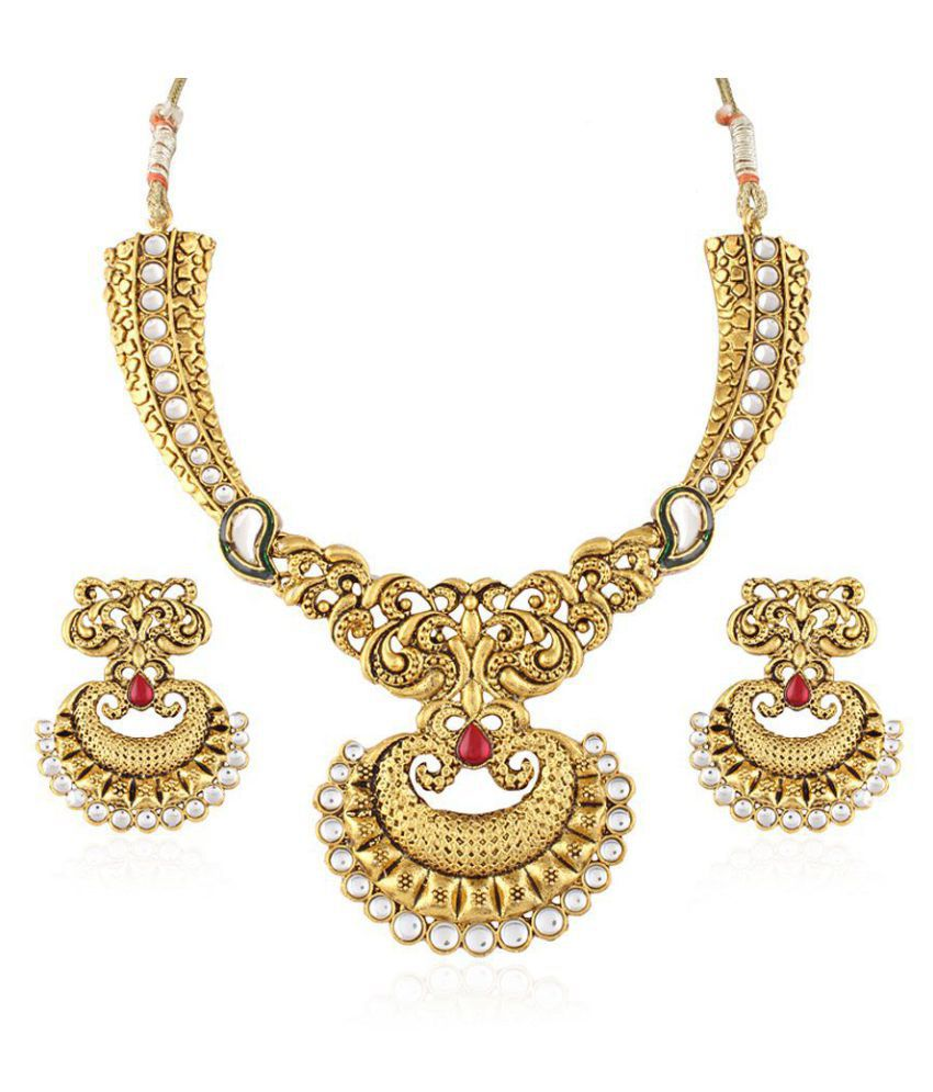 Variation Red Stone Gold Plated Kundan Traditional Necklace Set