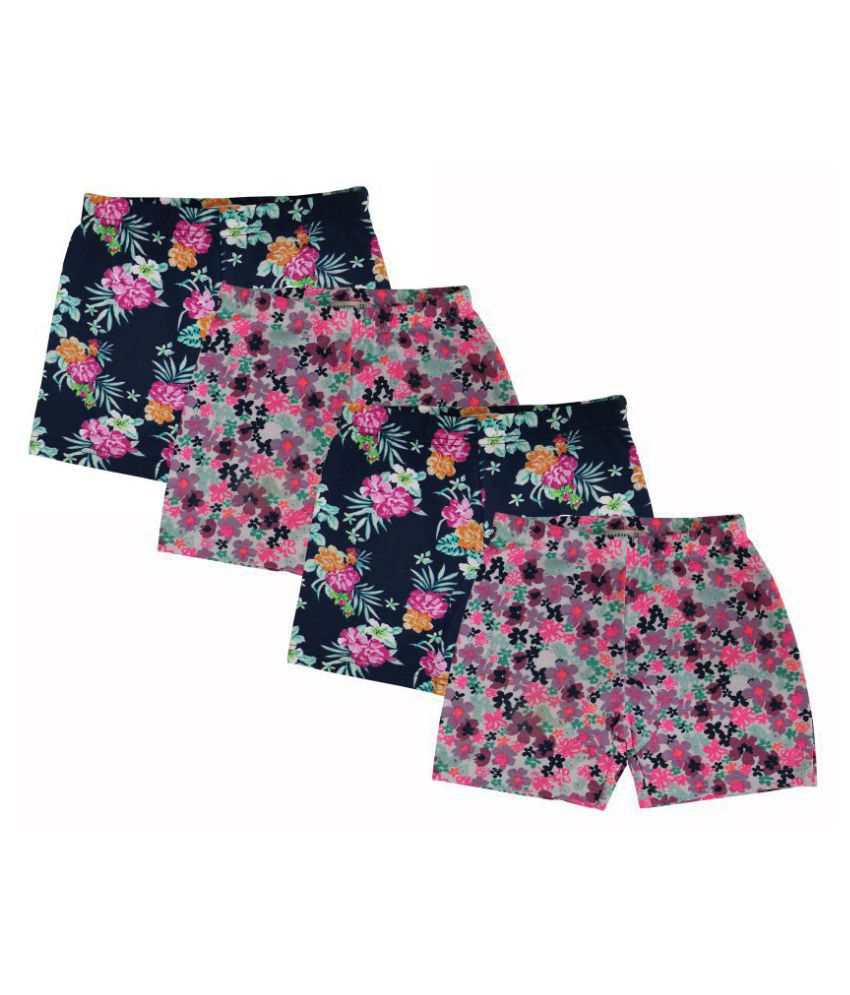 Elk Soft Cotton Baby Boys and Girls Casual Shorts Trousers Navy Blue and Pink Color 4 Piece Combo