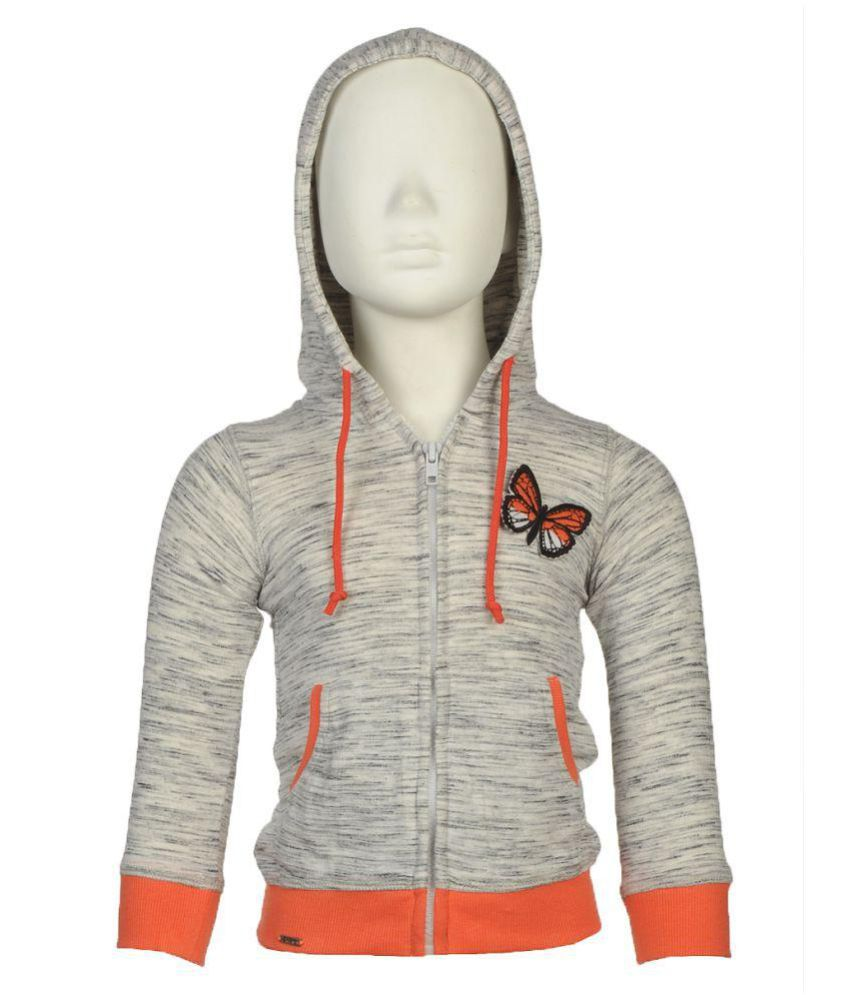 Beautiful hoodie sweat shirt with butterfly patch work at front in grey colour by Beanie Bugs, made with soft terry fabric, comfortable and warm it will protect your baby in this cold weather, best choice for your baby girl.