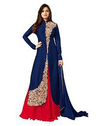 New Designer Blue Bangalore Silk Anarkali Gown Semi-Stitched Suit