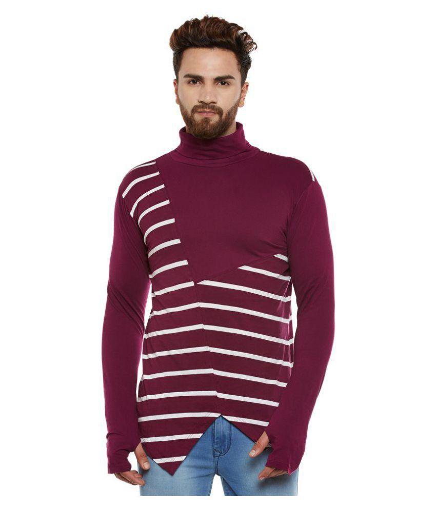 Hypernation Maroon High Neck T-Shirt Pack of 1